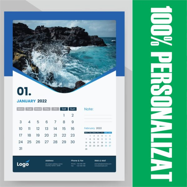 Calendar de perete integral personalizat 2022